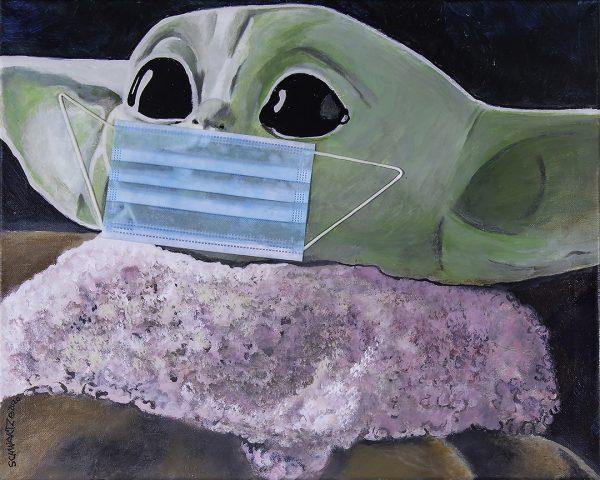 sam schwartz baby yoda painting